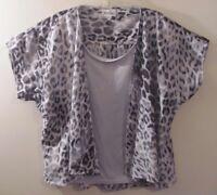 Joanna Women's Shirt Top Size 14 Gray Black Leopard Print Short Sleeve