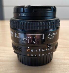 Nikon AF Nikkor 35mm F/2 D Prime Auto Focus Lens w/ B+W UV Filter