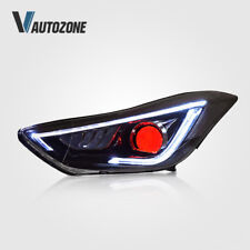 For Hyundai Elantra Headlight 2011-2013 LED DRL Pair with Demon Eyes Lamps 4D