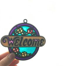 Vintage Rounded Small Welcome Translucent Window Suncatcher w Flowers & Glitter