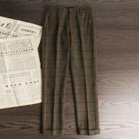 Men's Winter Retro Woolen Hairy Lattice Pants Thick  Loose Straight Suit Trouser