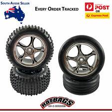 "Traxxas Bandit Front & Rear 2.2"" Alias Tyres Chrome Tracer Wheels 2470R 2471R"
