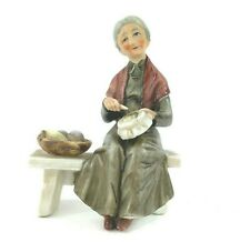 Bisque Figurine Seated Old Lady - Excellent condition