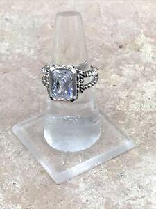 Barse Rectangle Glisten Ring- Quartz & Sterling Silver-7- NWT