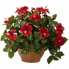 Nearly Natural 6735 Hibiscus Artificial Plant with Clay Planter- Green/Red