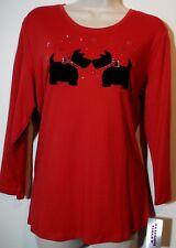 ALLISON DALEY Red Tartan Black Scottish Terrier 3/4 Sleeve Knit Top M NEW! $38
