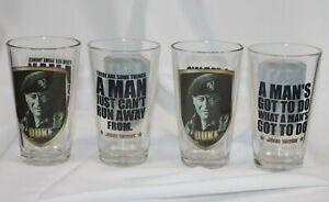 """4 Vtg John Wayne The Duke Glasses Vandor David Sutton Quotes 5.75"""" Set Lot"""