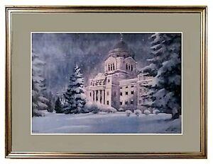 "Vintage Montana Capitol In Winter Signed & No. Print By Robert F. ""Bob"" Morgan"