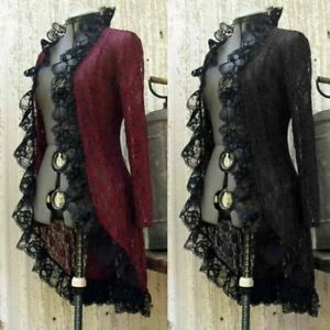 Medieval Cardigan Retro Women Stand Coat Lace Jacket Victorian  Steampunk Collar
