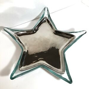Pottery Barn Recycled Glass Starfish Serving Tray Dish Silver