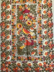 UNUSED IRISH ULSTER PURE LINEN * Vintage * SUNBELLE BIRD & FLORAL Tea Towel