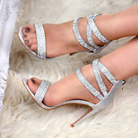 Women Sparkly Evening High Heel Shoes Ladies Party Bridal Fashion Strap Sandals