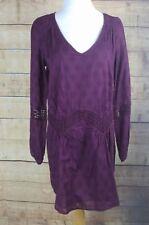 $59 NWT ROXY Sz S V Neck Purple Shirt Dress Lacy Boho Above Knee