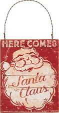 Primitives By Kathy Vintage Retro Here Comes Santa Claus Wood Sign Ornament