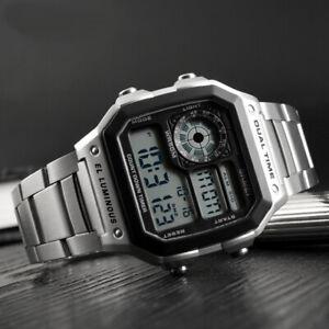 Men's Watches Sports 3ATM Waterproof Fashion Digital Stainless Steel Wrist Watch