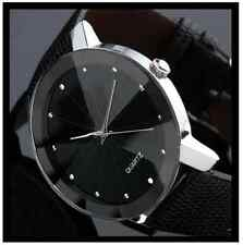 NEW Mens Black Face Dodecagon Glass Stainless Steel Crystal Quartz Sport Watch