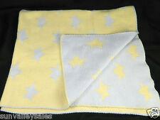 Koala Baby Blue Yellow Stars Sweater Knit Baby Blanket Reversible 100% Cotton