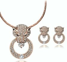Gold Lion Head Silver Crystal Earrings Necklace Jewellery Set UK