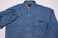 ExOfficio Long Sleeve Button Shirt Air Strip Nylon Teal Blue Medium M