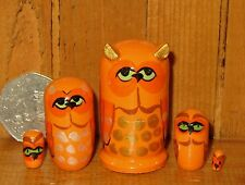 Russian tiny Matryoshka ORANGE OWL BIRDS nesting dolls 5  MINIATURE Babushka