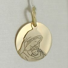 PENDANT MEDAL ROUND YELLOW GOLD 750 18K,Mary jane and Jesus,DOUBLE LAYER,SATIN