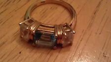 SOLID 14K PLUMB PLUM YELLOW GOLD EMERALD CUT WHITE & BLUE TOPAZ Ring Size  6
