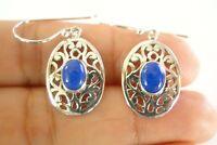 Blue Lapis Ornate 925 Sterling Silver Dangle Drop Earrings