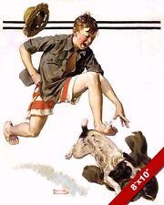 NORMAN ROCKWELL BOY CHASING DOG W PANTS ARTOIL PAINTING PRINT ON CANVAS PRINT