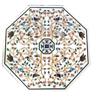 36 Inches Marble Dining Table Top Pietra Dura Art Sofa Table for Home Decor