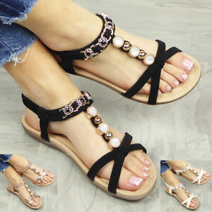 Ladies Shoes Summer Sandals Peep Toes Womens Elastic Strappy Comfy Bling Size