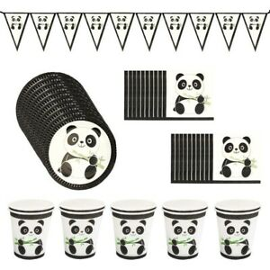 Happy Birthday Banner Paper Cups and Plates Panda Party Tableware Decor Set