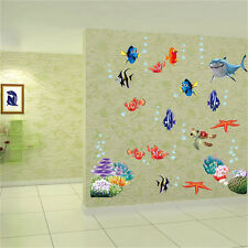 Cartoon Sea Fish Vinyl Removable Mural Wall Sticker Kids Room Bathroom DIY Jr