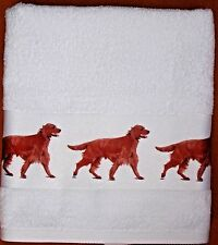IRISH SETTER DOG LARGE HAND/GUEST TOWEL WATERCOLOUR PRINT SANDRA COEN ARTIST
