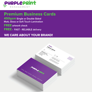 Premium quality laminated business cards, 450gsm, Silk card - gloss or matt