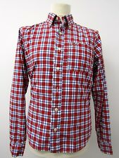 "Smart Mens Red Blue and White Plaid Long Sleeve Shirt by Hollister  M 42"" Chest"