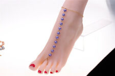 Purple Pearl Beads Toe Ring Anklet Bracelet Beach Barefoot Sandal Foot Jewelry
