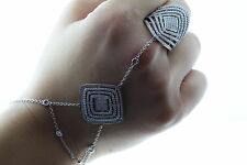 STERLING SILVER FASHIONABLE SLAVE BRACELET WITH CUBIC ZIRCONIA