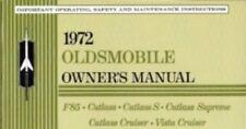 OLDSMOBILE 1972 Cutlass, 442, F-85 Owner's Manual 72