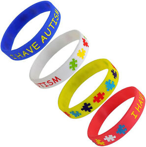 I HAVE AUTISM Medical Alert ID Silicone Bracelets Child Size (4 Pack)