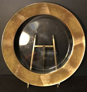 """Williams Sonoma 13"""" GLASS CHARGER PLATE Platter with GOLD LEAF Band"""