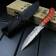 Handmade Hunting Knife Custom Forge Damascus Pattern Stainles Steel Fixed Blade.