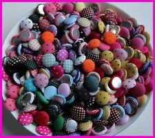 100pcs 15mm round polka-dot printing fabric covered button with flatback,wrapped