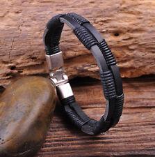 G28 New Surfer Hemp Wrap Leather Handmade Men's Wristband Bracelet Cuff Black A