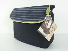 NWT BABY INNOVATIONS Messenger Diaper Bag Black and Gray. Insulated interior
