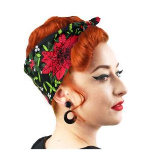 Christmas Bandana, Retro Christmas Hair Accessory, Rockabilly Head Scarf