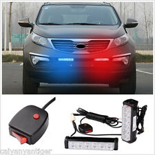 2× Car Emergency Warning Beacon Front Grille Dash LED Strobe Light Bar Red Blue