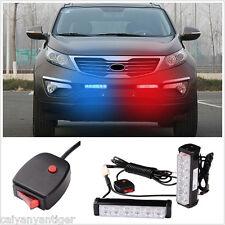 2× Car Emergency Warning Beacon Front Grille Dash LED Strobe Light Bar Red Blue