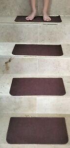 15 Non-slip Brown Adhesive Carpet Stair  Mats Staircase Step Rug Cover - NEW
