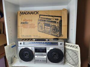 VTG Magnavox D8120 AM FM Stereo Radio Cassette Recorder Tested Working Box Prop