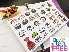 PP300 -- Kawaii Sushi Icons Life Planner Stickers for Erin Condren (32pcs)